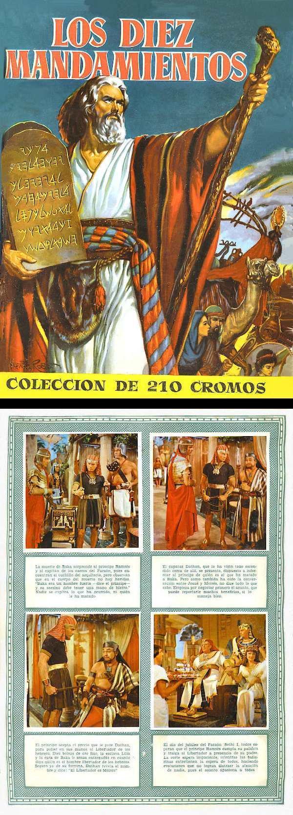 Álbum de cromos de Los diez Mandamientos.